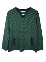 NWOT Croft & Barrow Striped Womens Top Shirt Large Green Blue Long Sleeve Ribbed