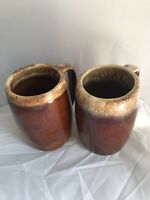 """2 Vintage Hull Pottery Oven Proof Brown Drip 5"""" Beer Coffee Cup Stein"""