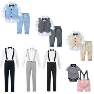 Kids Toddle Boys Birthday Shirt Romper Suspenders Shorts Pants Gentleman Outfits