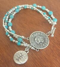 Beaten Silver Charm Bracelet with Crystal Gemstone Beads Tree of Life Lotus Ohm