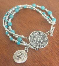 Beads Tree of Life Lotus Ohm Beaten Silver Charm Bracelet with Crystal Gemstone