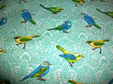 "BLUE, YELLOW & GREEN PARAKEET BIRDS COTTON QUILT FABRIC - 35"" x 44"""