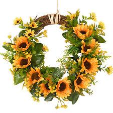 Artificial Sunflower Wreath Fake Flower Wreath with Yellow Sunflower Wall Decor