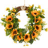 Artificial Sunflower Wreath Fake Flower Wreath with Yellow Sunflower Wall Decor