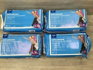 4 Packs Medline Youth Underwear Diapers L / XL 60-125 Lbs. 48 Total