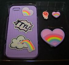 iPhone 5 Case Set with Earbud Winder Girls Lavender Purple Interchangeable
