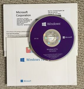 Microsoft Windows 10 PRO 64-Bit OEM DVD with Product Key Full Version 1 PC