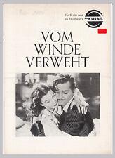 Filmprogramm Vom Winde verweht Berlin Filmtheater Die Kurbel Febr. 1954 selten