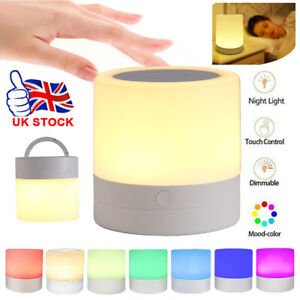 LED Dimmable Touch Night Light Bedside Table Mood Light USB Rechargeable Lamp UK