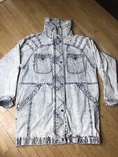 Retro Hip Hop Acid Wash Denim East West Bomber Jacket Size Medium Unisex Elastic
