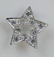 Pair 14K White Gold Star CZ Stud Earrings with Screw Back for Children & Petits