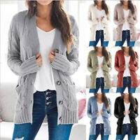 Womens Knitted Sweater Coat Cardigan Ladies Casual Pocket Warm Jacket Outwear US