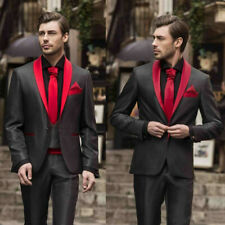 2 Pieces Black Mens Wedding Tuxedos Slim Fit Red Shawl Lapel Groom Suits Formal
