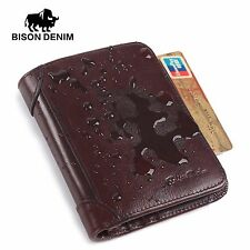 BISON DENIM RFID Blocking Genuine Leather Mens Wallet Card Holder Wallet