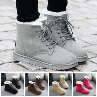 Women's Round Toe Flats Winter Shoes Warm Fur-lining Outdoor Snow Ankle Boots