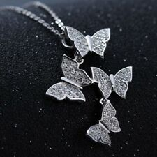 925 Silver Sterling Zircon-Studded Butterflies Pendant Necklace Clavicle Chain
