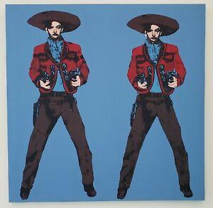 Big Mexican silkscreen POP Art Andy Warhol Tribute 57x50 blue Jorge Negrete 4/10