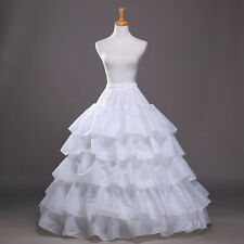 White 4-Hoop Wedding Crinoline Bridal Dress Ball Gown Petticoat Skirt Underskirt