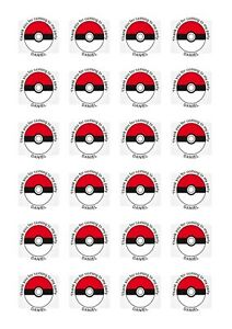 24 Personalised Pokemon Stickers 40mm Party Bags Sweet Cones