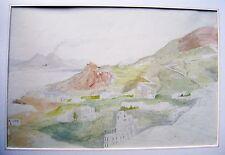 Una città mediterranea con un vulcano attivo nello sfondo con col c1840