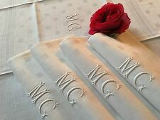 5 serviettes de table XIX ème Monogramme MG Damas lin damier Rubans 1395/79-7