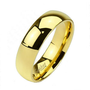Solid 14K Gold over Titanium 6mm Plain Wedding Band Ring Size 5-13