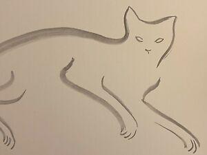 David Mack original art brush and ink Cat