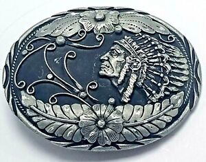 Vtg SSI Silver Tone Engraved 3D  Belt Buckle Native American Chief Headdress