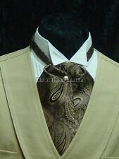 Cravat ascot vintage style wedding old west tie tan and brown paisley made  USA