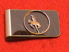Hand cut Wyoming state quarter 24 kt gold plated mounted for a money clip