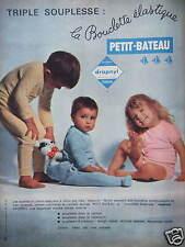 PUBLICITÉ VÊTEMENTS ENFANTS PETIT BATEAU TRIPLE SOUPLESSE LA BOUCLETTE ÉLASTIQUE