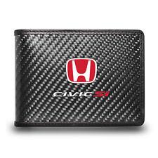 Honda Red Civic Si Black Real Carbon Fiber Leather RFID Blocking Bi-fold Wallet