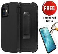 iPhone 11/ Pro/ Max Defender Case [w/Tempered Glass]Holster Belt Clip[Kickstand]