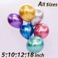 "12"" 10"" 100CHROME BALLOONS METALLIC LATEX PEARL Helium Baloon Birthday Party UK"