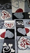 Set parure Tappeto + scendiletto 3 pezzi, Art Cuba.Disegno cuore.Col grigio.A033