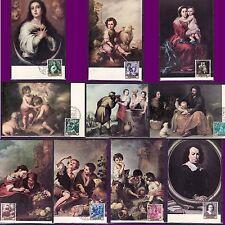 TARJETA POSTAL MÁXIMA 19601270-79 MURILLO 10 TARJETAS MAT.FILATELIA  ILUSTRADAS