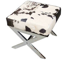 Handmade Black and White Hairy Leather Side table cum bench
