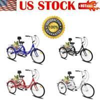 "24"" 3-Wheel Tricycle Adult Trike Cruise Bike Adjustable Seat W/Basket Bicycle US"