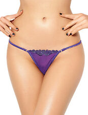 Purple Lace Trim Thong G String Knickers Lingerie Size 8-10