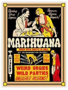Marijuana Marihuana Smoking Pot Reefer Vintage Style 18x24 Movie Poster c. 1930