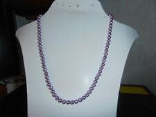 Perlenhalskette Kette  6mm Perlen in lila  unterbrochen mit lila Rocailles 48cm