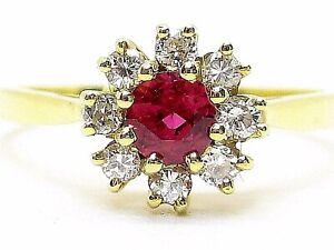 Natural Burma Ruby 0.25ct. & Diamonds 0.24ct. Yellow Gold 18k. Ring UK Size N