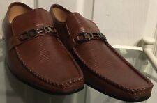 New Mens Brown Slip On Reptile Effect Leather Lined Moccasin Style Shoes Size 9