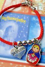 Red Anklet/Bracelet + Princess & Russian Enamel Charm Girls Fashion Jewellery