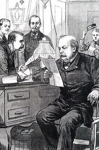 Grover Cleveland 1884 ELECTION NIGHT RETURNS in LIBRARY Albany Executive Mansion