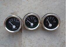 """2"""" /52mm Electrical Oil Pressure Oil Temp Volt -Black Chrome"""