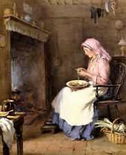Oil painting william kay Blacklock - a woman peeling vegetables by fireplace 36""