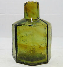 More details for olive-amber octagonal ink bottle with colour banding within the glass c1910-15