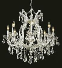 World Capital Maria Theresa 9 Light Dining Crystal Chandelier in Chrome