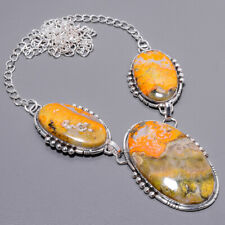 """Bumble Bee Jasper- Indonesia 925 Sterling Silver Handmade Necklace 17.99"""" T910"""